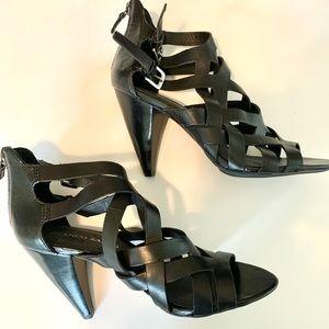 Franco Sarto black leather gladiator heels sz 9M